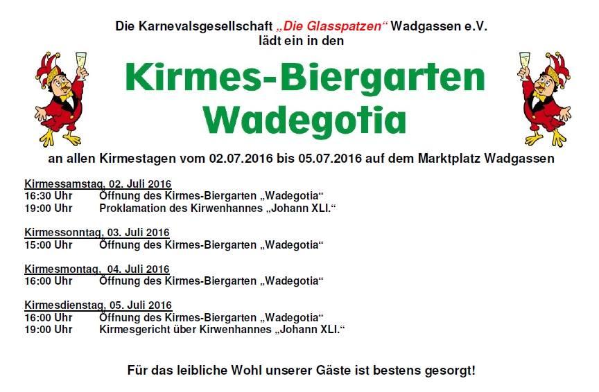 Programm Kirmesbiergarten 2016